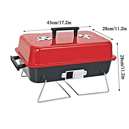 41RzSqW21iL - AGWa Tragbare Eisen Holzkohle Grill Kochen Grill Edelstahl Outdoor Camping Grill Werkzeug Küche Grill Zubehör Metall Kochgeschirr (rot)