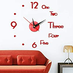 DIY Wall Clock Creative 3D Design Mirror Surface Wall Decorative Sticker Watches
