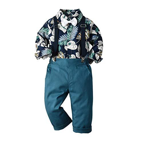 i-uend Kleinkind Baby Jungen Neue Kleidung Anzug Gentleman Fliege Langarm Hemd Kinder Blatt Drucken Tops + Hosenträger Hosen Outfits Für 0-5 Jahre