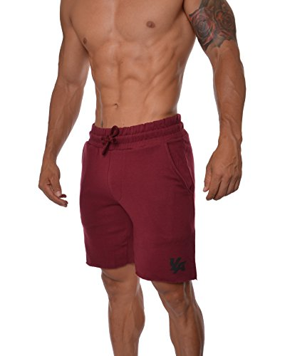 YoungLA Gym Shorts for Men French Terry Cotton Workout Casual Athletic Basketball with Pockets 112 Burgundy Medium