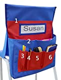 VNOM Chair Back Pocket School Seat Chair Storage Pocket Organizer with Label Slot Multiple Pockets for School Home Classroom Preschool Daycare (Red+Blue)