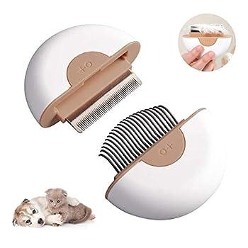 Peigne pour Animaux de Compagnie 2 en 1, Mini Peigne de Nettoyage et de Massage pour Les Animaux à Poils Longs et Courts, épingle en Acier Inoxydable nettoie Les Cheveux flottants (Gris)
