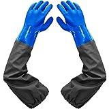 Haiou Guantes de estanque, guantes largos de PVC de goma...