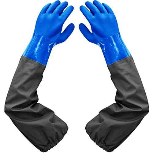 Saibangzi Teichhandschuhe Lang-Fischerhandschuhe-Teichpflege Handschuhe & Arbeitshandschuhe Wasserdicht, PU Handschuhe Sandstrahlen, Beständig Säuren und Laugen, Blue, Nur Eine Größe