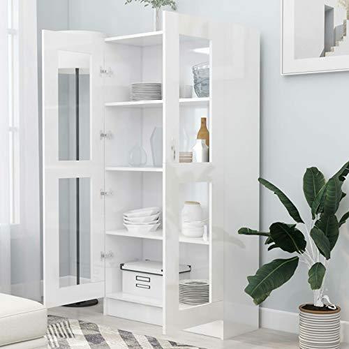 WooDlan Aparador Salon | Armario de Libros |vitrinas para Salon | Librerías de salón | Armario de Almacenamiento |Armarios de salón Aglomerado Blanco Brillante,82,5x30,5x150 cm