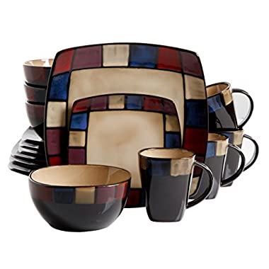 Gibson Soho Lounge 16-Piece Mosaic Reactive Glaze Dinnerware Set, Multicolor