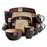 Gibson Elite Soho Lounge Square 16-Piece Mosaic Reactive Glaze Dinnerware Set Service of 4, Stoneware, Multicolor,