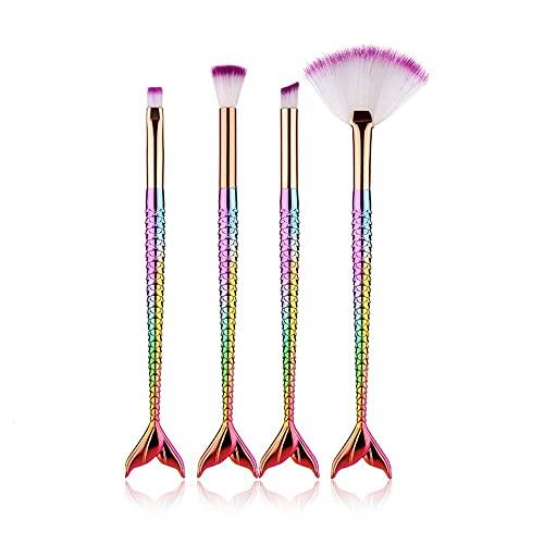 Lot de 4 pinceaux de maquillage naturels avec crayon, fond de teint liquide, surligneur, fard à paupières, crayon à lèvres