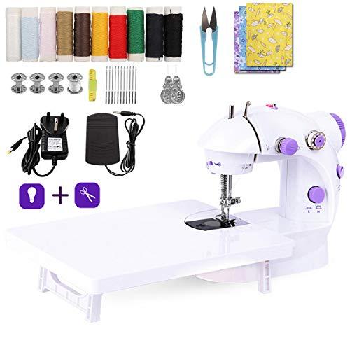 LMYJ Mini máquina de coser con mesa de extensión y máquina de coser accesorios de tela de algodón dos hilos doble velocidad interruptores hogar niños principiantes viaje automático máquina de coser