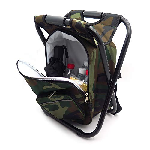 HTTMT - Foldable Outdoor Multi-Function Fishing Backpack Beach Chair Stool w/Cooler Bag [Item Number: ET-Seat001]