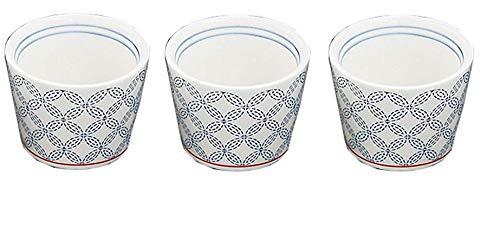 Yamako YAAKO 26962 Lot de 3 Tasses à saké Traditionnelles japonaises en Porcelaine Blanc et Bleu