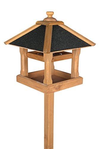 Edles Vogelhaus 130400 mit Ständer Massivholz 140 cm hoch und mit Schindeldach gedeckt Futterkrippe Futterspender Futterhaus mit Futterschale