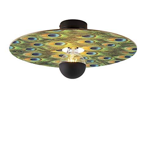 QAZQA Modern Plafondlamp zwart met pauw platte kap 45 cm - Combi Staal/Stof Rond Geschikt voor LED Max. 1 x 60 Watt