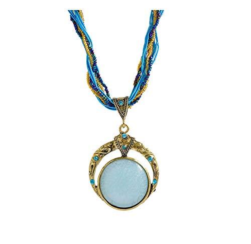 GUHUA Retro Bohemia Crystal Colgante Soy Luna Collar Boho Vintage Collar Mujer Joyería Colgantes Mujer Moda Collares