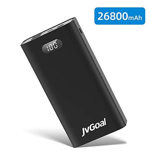 JvGoal Powerbank 26800mAh Tragbares Telefonladegerät mit ultrahoher Kapazität LED-Anzeige mit Zwei Ausgängen Externer Akku mit 3 Eingängen USB C-Anschluss Kompatibel für Smartphones, Tablets und mehr