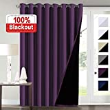 100% Blackout Curtains for Living Room Extra Wide Blackout Curtains for Patio Doors Double Layer Lined Drapes for Double Window Thermal Insulated Curtains/Draperis - Indigo Plum, 100' x 84'