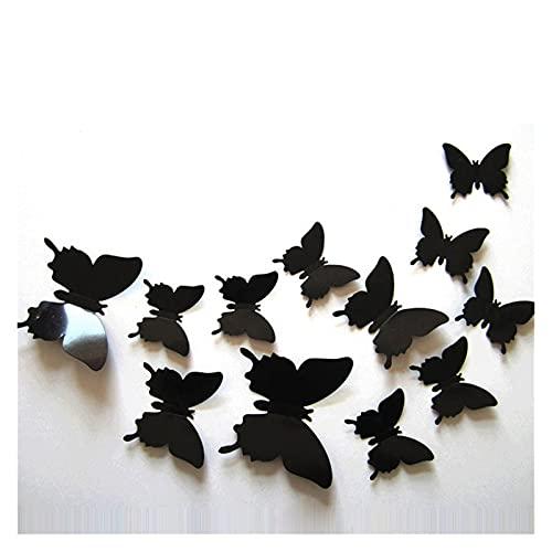 YNA Pegatinas De Pared Mariposa 12 Piezas Simulación Estéreo 3D Joyería Negra PVC Textura Impermeable Pintura Autoadhesiva Decorativa para Jardín Infantes Decoración Muebles Dormitorio
