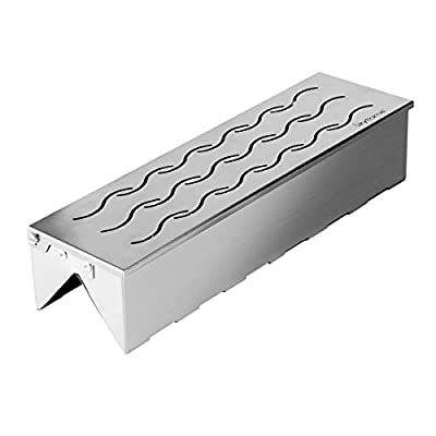Skyflame Universal Stainless Steel Wood Chip Smoker Box with Wavy Smoke Outlet for Charcoal & Gas Grill