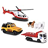 Majorette Mountain Rescue Playset Diorama, Die-Cast Veicoli, 3 Auto Giocattolo + Accessori, Set Regalo, Multicolore, 212058593