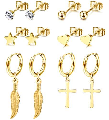 Adramata 6 Pares Acero Inoxidable Aretes con Forma de Circonita y Estrella de Corazón para Mujer Pendientes de Aro Huggie Pluma Pendientes Colgantes Cruzados para Niñas y Hombres Chapado en Oro