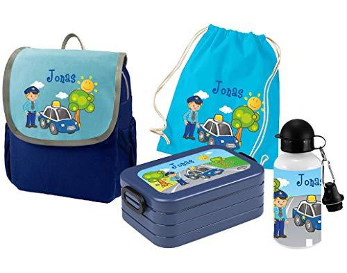 Mein Zwergenland Set 5 Kindergartenrucksack mit Brotdose, Turnbeutel und Trinkflasche Happy Knirps Next mit Name Polizei, 4-teilig, Blau