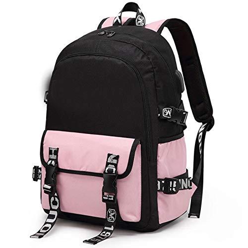 Junior High School Student Schoolbag Male Elementary School Children's Backpack Bag Oxford Cloth Lightening Ridge Protection Leisure Backpack Pink Hit Black