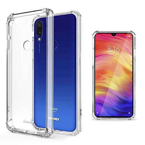 Moozy Funda Silicona Antigolpes para Xiaomi Redmi 7 - Transparente Crystal Clear TPU Case Cover Flexible