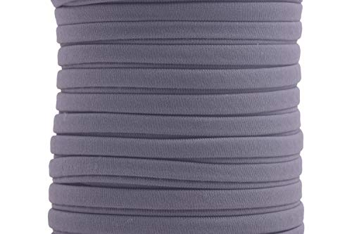 KONMAY 1 Roll 20 Yards 5.0mm Dark Grey Flat Soft Skinny Elastic Cord from Spanex and Nylon Fabric Stitched Stretchy Cord