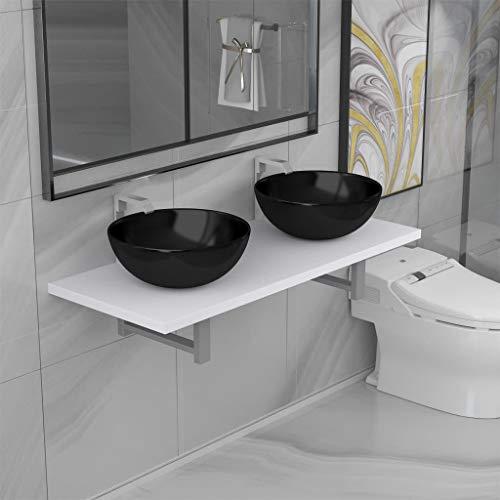 FAMIROSA Conjunto de Muebles de baño de Tres Piezas cerámica blanco-9367