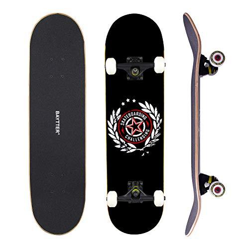 BAYTTER Skateboard Komplett Board Funboard 79x20cm mit 7-lagigem Ahornholz und ABEC-11 Kugellager 95A Stoßdämpfer, für Kinder, Jugendliche und Erwachsene, 3 Farben wählbar (schwarz)