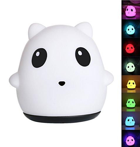 Leuke panda-decompressie, kleurrijk, nachtlampje, siliconen, dier-atmosfeer, USB-oplaadkabel, hoofdeinde, comic-lamp, eenkleurig, 7 kleuren, babykamer, slaapkamer, kleuterschool buitenshuis.