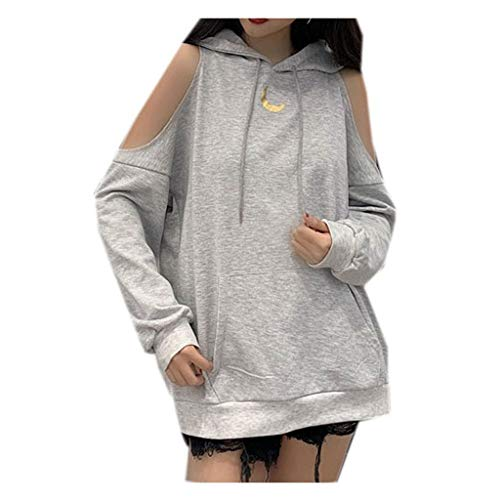 Gyouanime Hoodie Halter Sweater Women Cold Shoulder Pullover Sweater Jumper Coat Winter Outwear Hooded (Gray B, XXL)