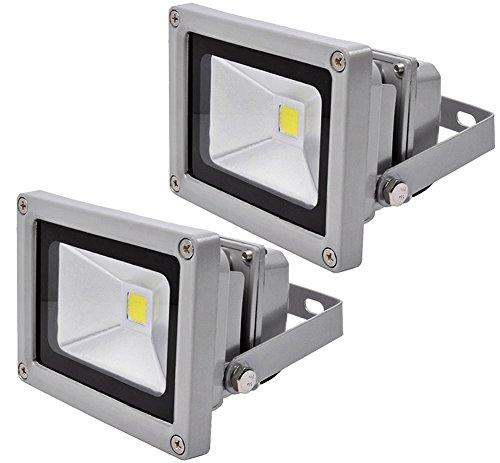 Leetop 2X Top-Qualität 10W LED Lampe Fluter Scheinwerfer IP65 Warmweiß Schwarz Aluminium Flutlicht Wasserdicht Strahler