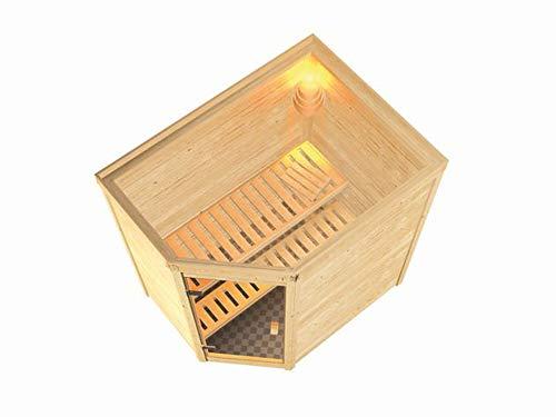 SAUNELLA Sauna mit Ofen | Gartensauna - Saunakabine Maße: 196 x 144 x 198 cm | Saunaofen Komplett Sauna Bausatz Eckeinstieg | Bio-Kombi-Ofen mit ext. Steuerung