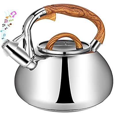 3.2 Quart Whistling Tea Kettle- Surgical Stainless Steel Teapot with 3 Layer Bottom and Wood Grain Handle, Applicable to Gas, Electric, Induction, Ceramic Stovetops