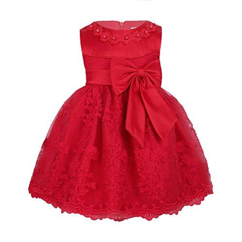 TiaoBug Babykleider Mädchen festlich Baby Kleid Taufkleid festlich Prinzessin Party Kleid Festzug Kleidung 68 74 80 86 92 (86-92 (Herstellergröße: 18M), Rot)