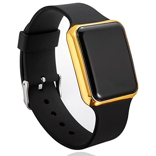 SKTE Relojes Deportivos Casuales para Hombres Reloj Digital para Hombre Y Mujer Reloj De Pulsera Electrónico con Correa De Silicona para Hombre Reloj Electrónico LED (Color : Black Gold)