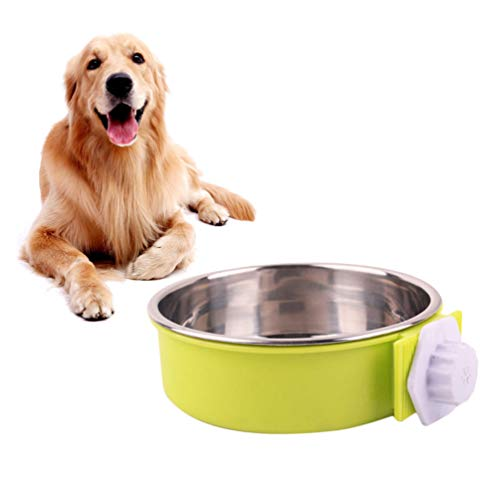 POPETPOP ペットボウル ハンガー ゲージ用 固定 ペット食器 餌入れ ヘルスウォーターボウル 猫 犬 うさぎ 小動物用 食器 16x16x5cm グリーン