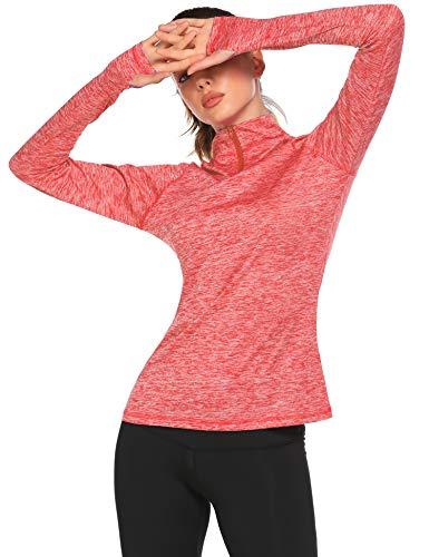ELESOL Women's Yoga Long Sleeves Half Zip Sweatshirt Girl Athletic Workout Running Jacket Red,XL