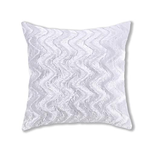 Fundas de almohada de felpa, estilo simple, cuadradas, súper suaves, fundas de cojín, fundas de almohada, decoración creativa del hogar, para sofá, cama, silla (blanco, 43 x 43 cm)