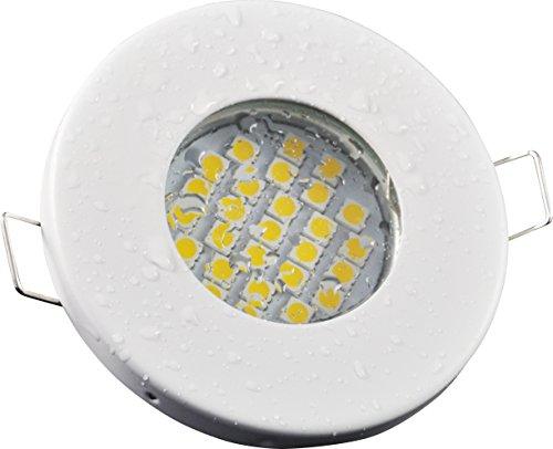 Badezimmer Einbaustrahler IP65 | Farbe Weiß matt | 12Volt GU5.3 MR16 DC 5Watt LED warmweiß 3000 Kelvin 380 Lumen | Lampenfassung mit Anschlusskabel inklusive