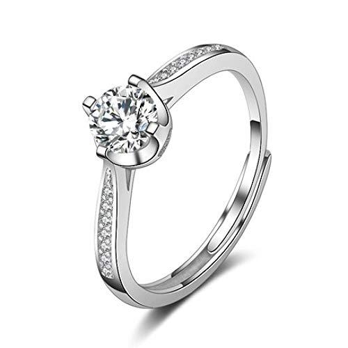 LG GL Anillo Anillo de Apertura de Anillo de Diamante de Plata de Ley 925 Anillo de Diamante de simulación de 2 Quilates para la Venta