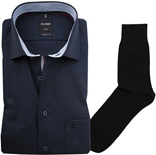 Hemd Olymp modern fit Global Kent, Kurzarm + 1 Paar hochwertigen Socken, B&le, Größe:45