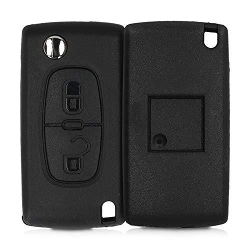 kwmobile Autoschlüssel Gehäuse kompatibel mit Peugeot Citroen 2-Tasten Klapp Autoschlüssel - ohne Transponder Batterien Elektronik - Auto Schlüsselgehäuse - Schwarz
