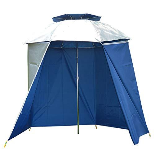 Lixada Parapluie de Pêche Tissu Wai 4.8 * 1.5 m Parapluie pour Pêcheur Tissu Wai avec Mousquetons Étanche Soleil Protéger Pliant pour Cour, Jardin, Garage Balcon Bleu/Bleu Clair