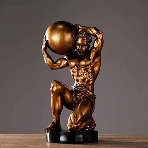 ZGYQGOO Kreative Charakter Skulptur, Zuhause Wohnzimmer Weinschrank Studie Dekoration Handwerk, Gym Herkules Ornamente, Geschenk, 21 × 18 × 42 cm, Kupfer-A