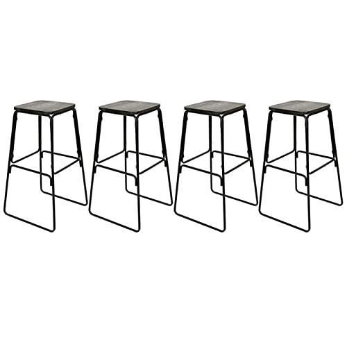 Taburetes de Bar Conjunto de 4 estilos de diseño industrial. Taburetes de barra de metal de metal. Diseño moderno y elegante for cocinas Barras de familias (44 * 42 * 76cm) Altura Regulable