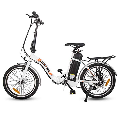 ECOTRIC 20' Folding Electric Bike Bicycle City EBike 350W Gear Rear Motor 36V/10AH Removable Lithium Battery Alloy Frame Pedal and Throttle Assist LED Display (White)