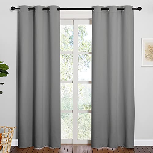 NICETOWN Thermal Insulated Grommet Blackout Curtains for Office, Kids Window Drape Panel for Nursery, Privacy Short Curtains (Silver Grey, 2 Panels, W42 x L84-Inch)