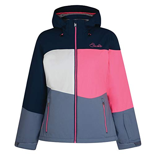 Dare 2b Damen Indestruct Waterproof and Breathable Insulated Ski Jacke, Blue Wing/Luminous Pink/Mercury Grey, 36